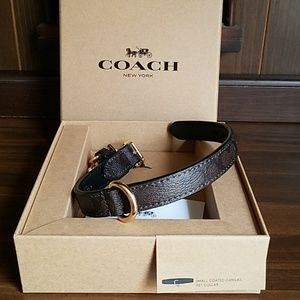 Coach Small Pet Dog Collar Leather Mahogany